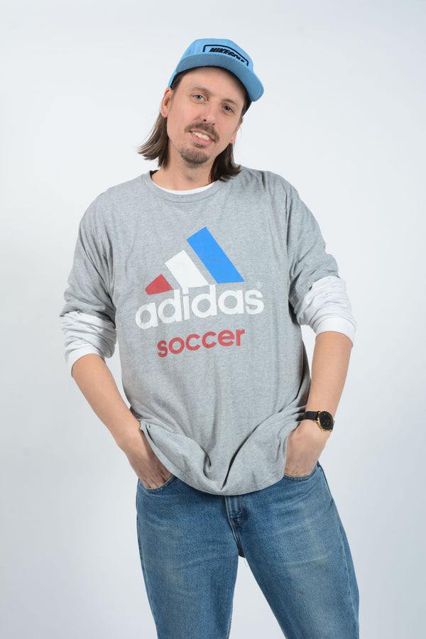 Vintage Adidas T-Shirt with Spell Out Print - XL