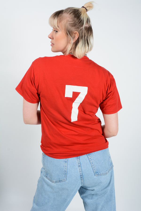 Vintage USA Soccer T-Shirt in Red - M