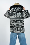 Vintage 90s Aztec Parka Fleece Jacket - L