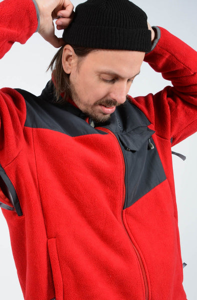 Vintage 90s Fleece Outdoor Jacket in Red - L