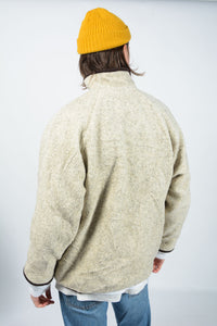 Vintage 90's Fleece Jacket Comfy Beige - M