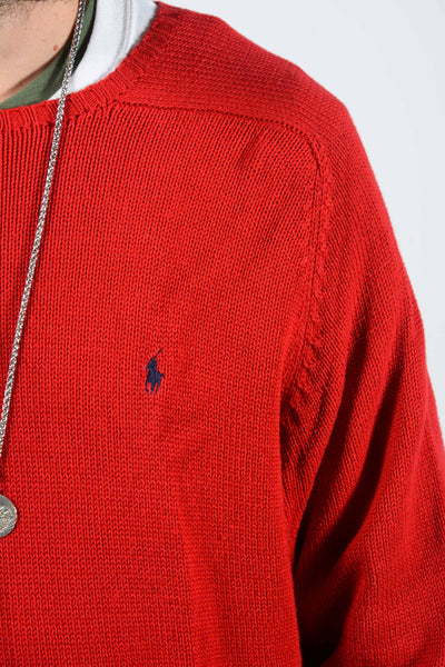 Vintage Ralph Lauren Knitted Jumper in Red - XL