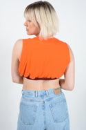 Reworked Sleeveless Cropped T-shirt-M