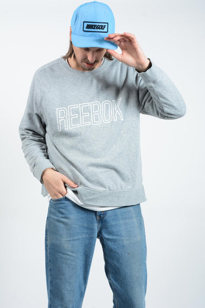 Vintage Reebok Sweatshirt in Grey with Spell Out Logo - XL