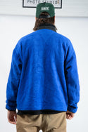 Vintage 1/4 Zip Fleece Jumper in Blue - L