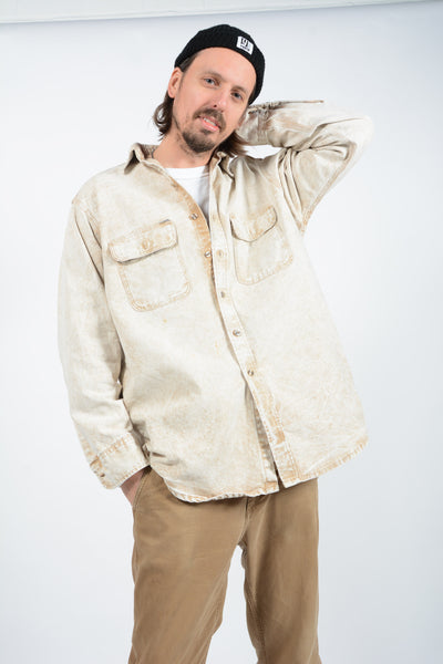 Vintage Carhartt Denim Workwear Shirt in Beige - XL