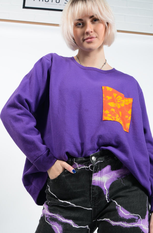 Reworked oversized Sweatshirt in purple with pocket - 3XL