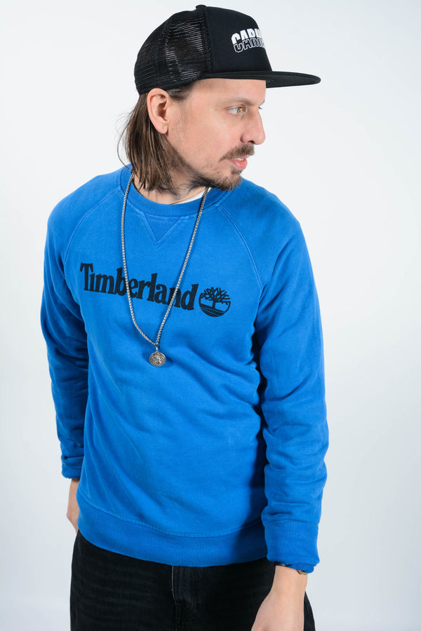 Vintage Timberland Sweatshirt in Blue with Spell out Logo - M