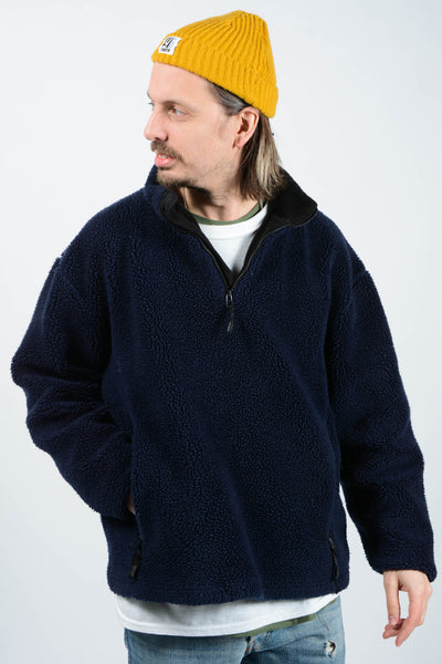 Vintage 90s Teddy Shearling 1/4 Zip Fleece Jumper - L
