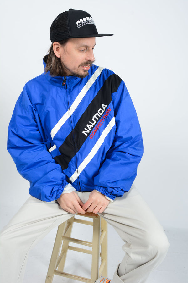 Vintage Nautica Windbreaker Jacket in Blue - XXL