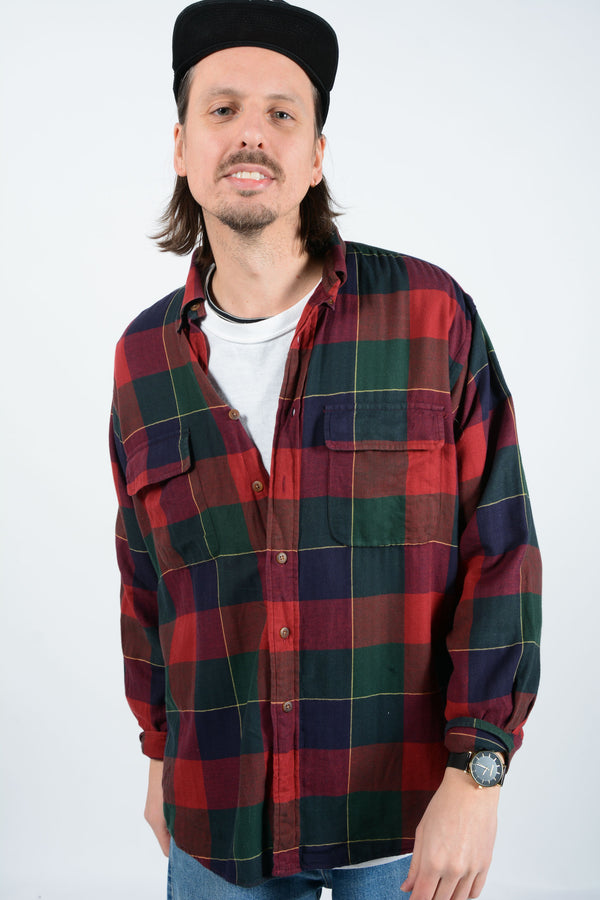 Vintage Trucker Shirt in Red Check - M