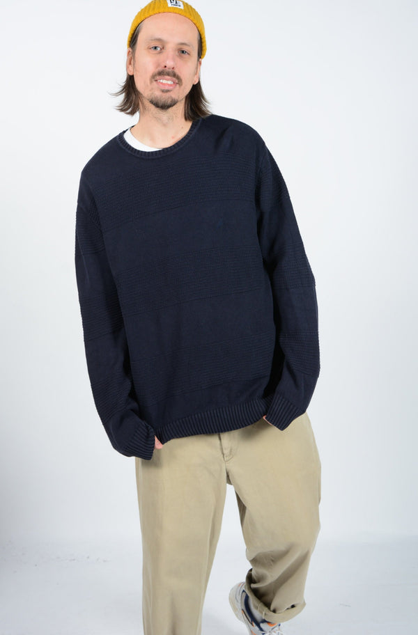 Vintage 90s Nautica Slouchy Knitted Jumper in Blue - L