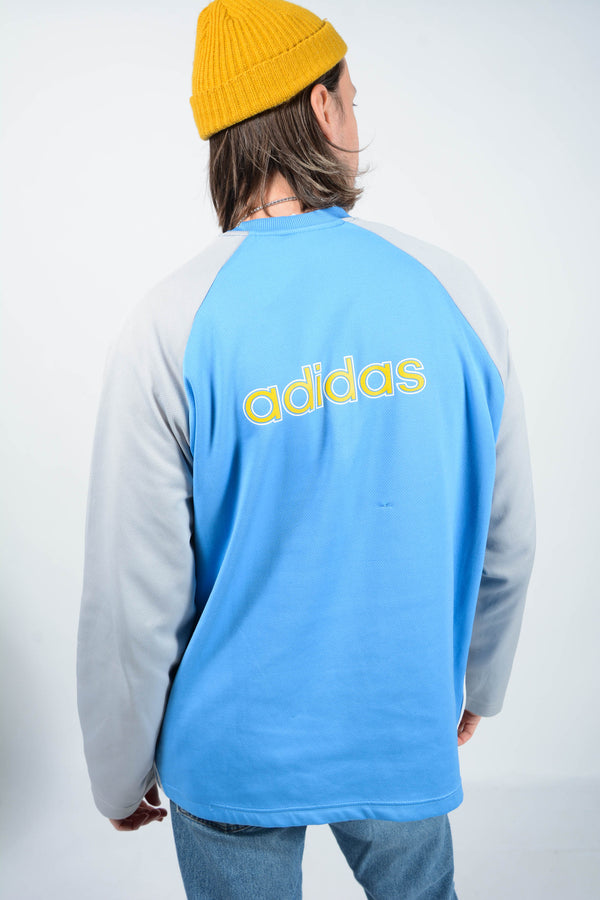 Vintage Adidas Sweatshirt Spell Out Logo Blue - L