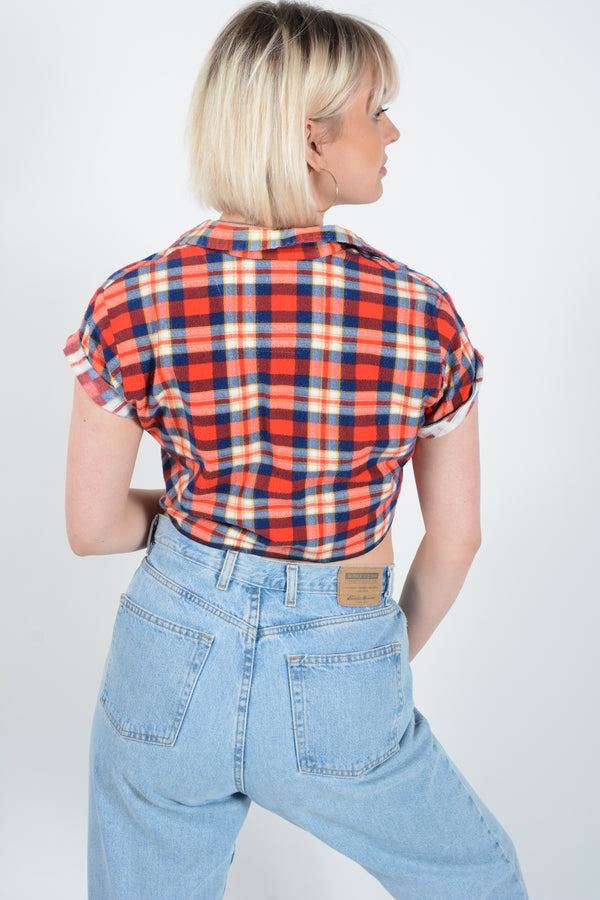Cropped tie-up flannel shirt- S