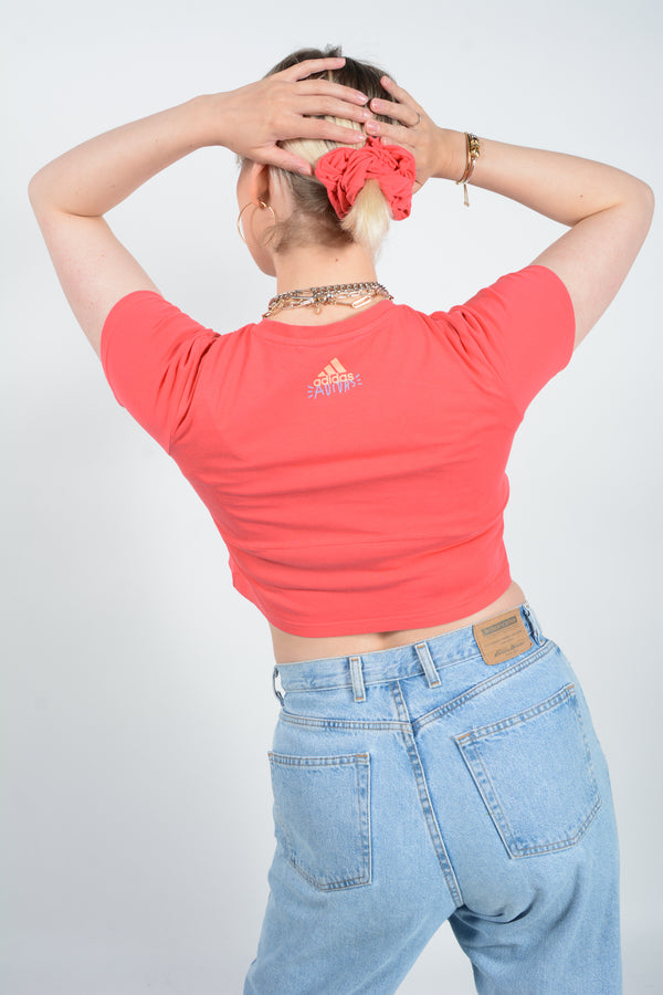 Reworked Adidas Crop Top with Scrunchie