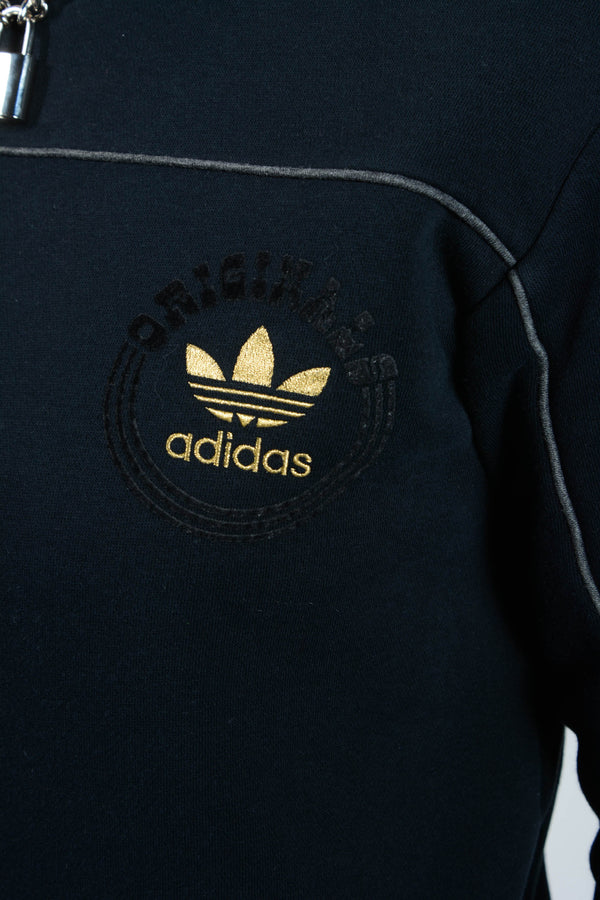 Vintage Adidas Sweatshirt in Black with Logo - S