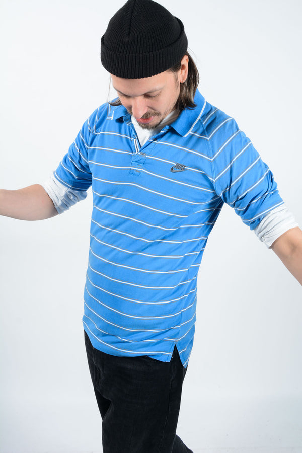 Vintage 90s Nike Polo Shirt Blue Striped - L
