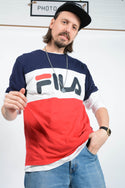 Vintage 90s Fila T-shirt Logo Striped - XL