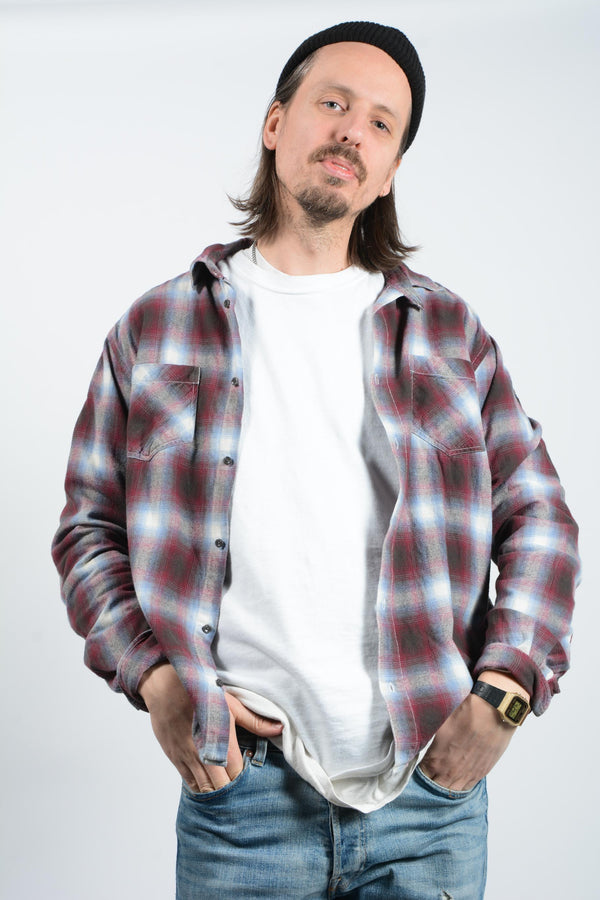 Vintage Flannel Shirt with Red Check - XL