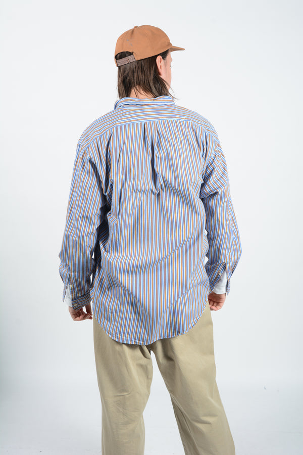 Vintage Ralph Lauren Striped Shirt Logo - L