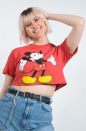 Vintage Cropped Rework T-shirt Disney Red - M