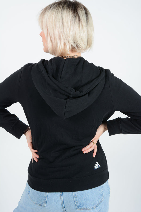 Vintage Adidas Hoodie in Black with Arm Logo - M