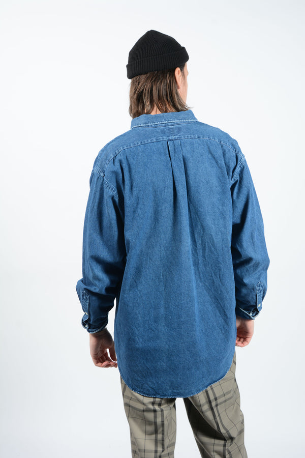 Vintage Ralph Lauren Denim Shirt in Blue with Logo - L