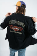 Vintage Harley Davidson Workwear Shirt in Black with Logo - M