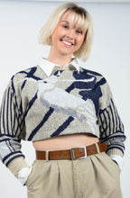 Load image into Gallery viewer, Vintage Cropped Rework Jumper with Abstract Print - M