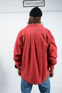 Vintage 90s Nautica Corduroy Oversized Shirt in Red  - XL