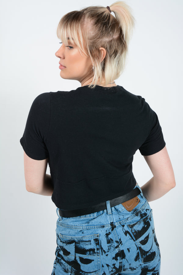 Vintage Cropped Rework Nike T-Shirt Black - M