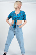 Vintage reworked tie-up blouse in blue flannel -S