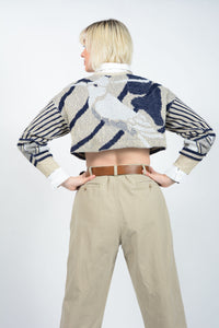 Vintage Cropped Rework Jumper with Abstract Print - M