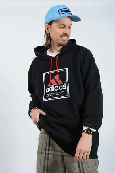 Vintage Adidas Hoodie in Black with Graphic Print - XXL