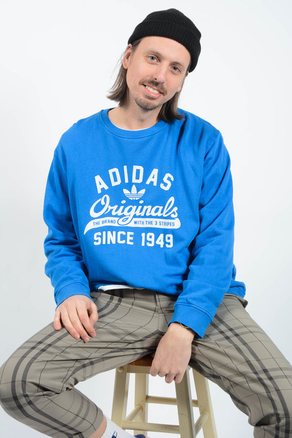 90s Adidas Sweatshirt in Blue with Graphic Print - XL