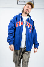 Load image into Gallery viewer, Vintage 90s NFL Hoodie in Blue with Embroidered Design - 3XL