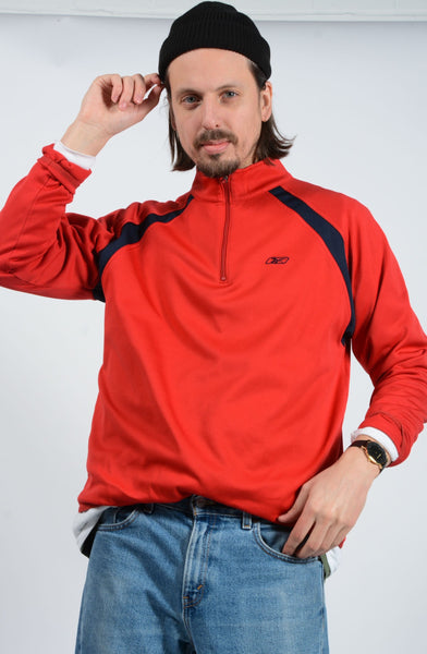 Vintage Reebok 1/4 Zip Sweatshirt in Red - L