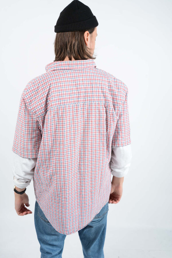 Vintage Ralph Lauren Chaps Shirt Skater Checked Red - XL