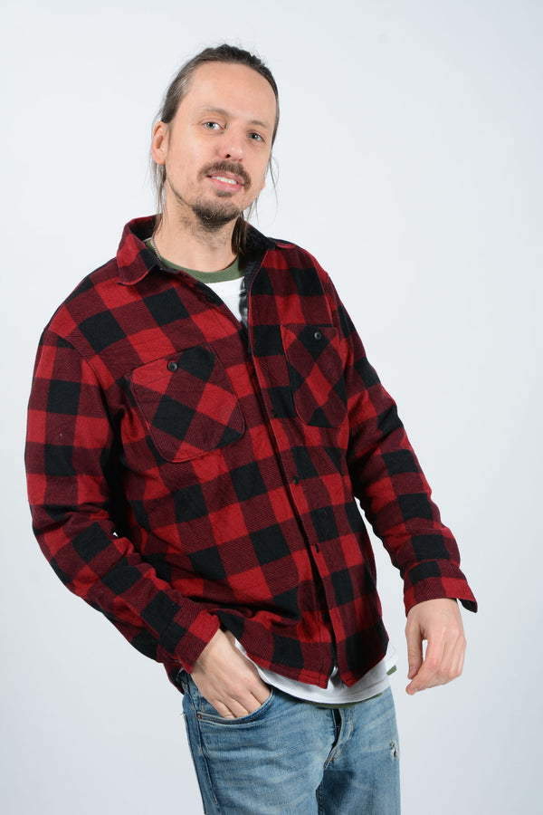 Vintage 90's Wrangler Shirt Flannel Workwear Red - M
