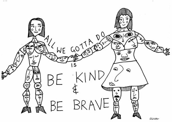 'Be Kind & Be Brave' postcard