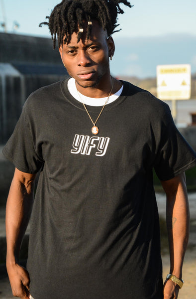 YIFY T-shirt in black with shadow logo