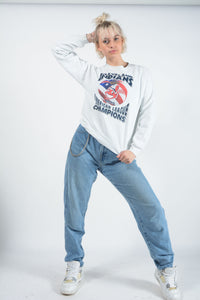 Vintage USA Sweatshirt in White with Graphic Print - M