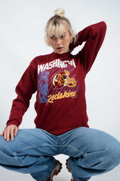 Vintage Washington Football Team Sweatshirt in Maroon - M