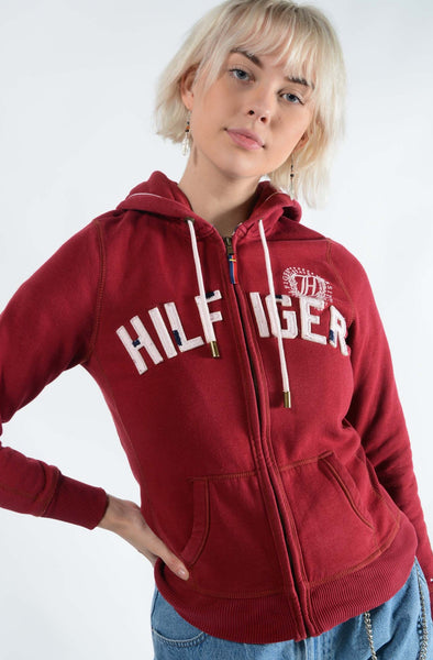 Vintage Tommy Hilfiger Hoodie Spell Out Logo Maroon