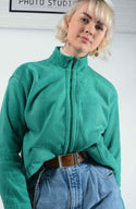 Vintage 80's Fleece Jacket Loungewear Green - L