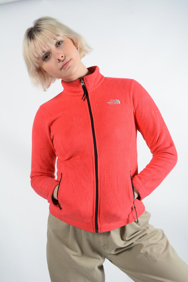 Vintage North Face Fleece in Pink with Logo -S