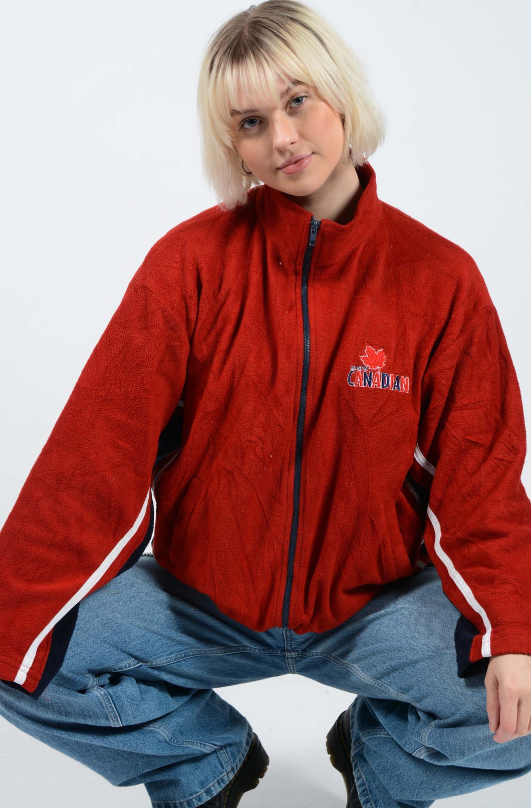 Vintage 90s Zip Up Fleece in Red With Canada Logo - L