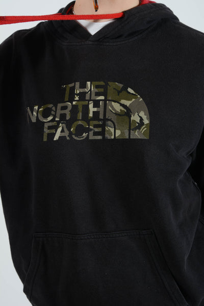 Vintage North Face Hoodie with Spell Out Logo in Black
