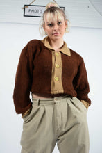 Load image into Gallery viewer, Vintage Reworked Cropped Knit Cardigan - M