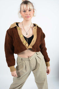 Vintage Reworked Cropped Knit Cardigan - M